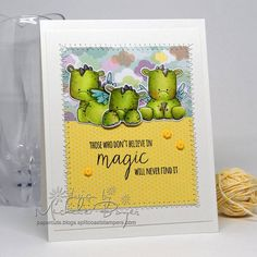 """Bellarific Friday challenge with STAMPING BELLA- Card made by Michele Boyer using SET of DRAGONS and their corresponding CUT IT OUT dies as well as the sentiment from our UNICORN """"ADD ON"""" set"""