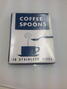 vintage spoon set / french Coffee spoons / midcentury modern 1950s cutlery.