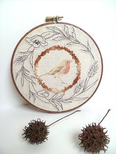 Bird hand embroidery mixed media art hoop wall hanging by Cesart64