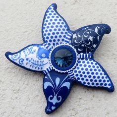 Polymer Clay Clasic blue /white combination with Swarovski rivoli.