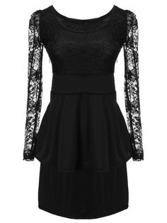 With legging?  A bit short.  / Lace Sleeve Tops Faux Cocktail Mini Dress