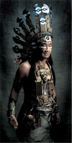 Steampunk Native American Indian. I like the use of old CDs...flashy...