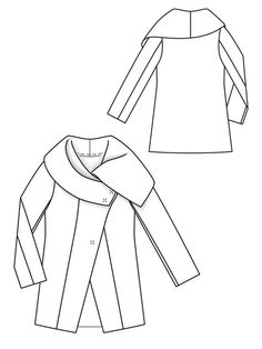 Mohair Jacket ~ PDF Pattern to make this unlined jacket with a large draped collar ~ both sides of fabric must look good ~