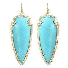 Kendra Scott Skylar Drop Earrings Turquoise    Item # EAN5XX  $65.00  With their sleek arrowhead shape, Kendra Scott's Skylar drop earrings take an edgy new angle on the round opulence of her classic, best selling Danielle earrings. This pair of Skylar drops is set with turquoise magnesite for a rustic look of elemental beauty.