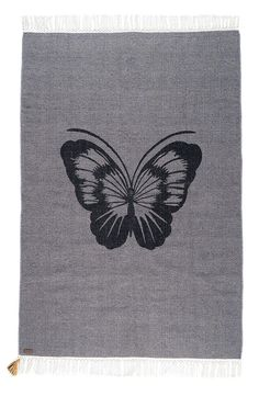 Tapis papillon en coton gris anthracite Varanassi