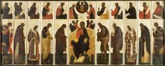 "This ""Great Deesis With Prophets"" 16th century Russian tempera on panel is located in the Walters Art Museum.  The piece is presently not on view and was acquired by Henry Walters in 1930.    According to the museum information, ""These panels reproduce the upper two tiers of the screen (known as the iconostasis) that separates the nave from the altar in Orthodox churches. Such sets, of which this is one of the earliest known, were used by priests for makeshift altars and by lay people for…"