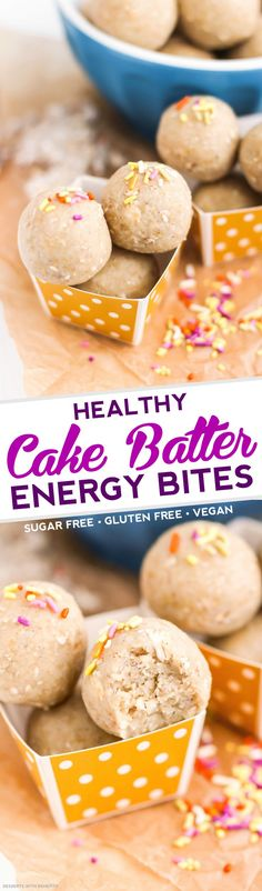 Vanilla Cake made into Energy Bites? And they're HEALTHY? Yes please! These Heathy Cake Batter Energy Bites have got all the flavor of vanilla cake -- they're sweet and buttery and packed with vanilla bean flavor -- but they don't have all the added sugar, butter or oil. No baking required to munch on these bites! [refined sugar free, gluten free, dairy free, vegan, no bake]