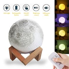 Aissimio 3D Printing Moon Lamp USB Charging LED Night Light Moonlight Night Light Gift Color Changing Home Decor with Remote 13CM