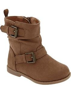 Toddler girl shoe from Old Navy.  Sueded Buckle Boots for Baby