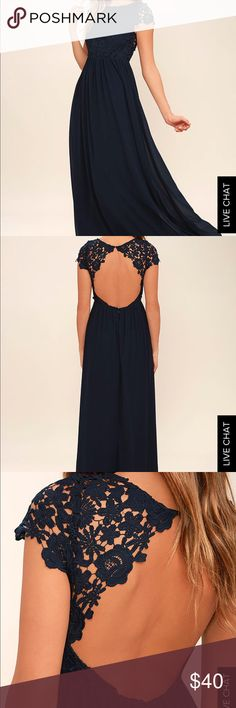 Evening dress Beautiful navy evening dress, lace top with gorgeous open back and chiffon bottom! Lulu's Dresses Maxi