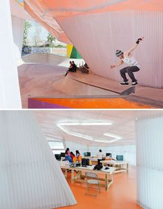 Factoria Joven, a skate park and climbing wall in Spain, sets an example for urban youth centers worldwide with its bright and beautiful architecture.