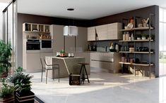 Cucina angolare moderna con isola  - Composizione 0582