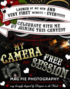 Enter to win a free camera or a free photo shoot with Mag Pie Photography! Boudoir Photography, Photography Tips, Free Shoot, Mag Pie, Tattoo People, First Website, Photography Contests, Great Photographers, Positive Words