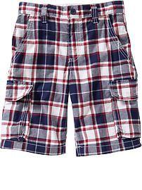 Boys Plaid Cargo Shorts