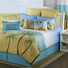 Delectably-Yours.com Palm Coast Tropical Bedding Comforter or Duvet Bed Set by Victor Mill  #DelectablyYours Tropical Coastal Beach Decor