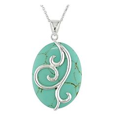 Miadora Sterling Silver Oval Turquoise Necklace ($49) ❤ liked on Polyvore featuring jewelry, necklaces, blue, sterling silver pendants, sterling silver jewelry, turquoise pendant, blue turquoise necklace and blue pendant