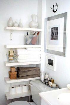 Small Bathroom Storage Shelves beach house design ideas: the powder room - | bath, creative and store