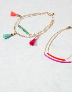 Bershka Hungary - Coloured pompom beaded bracelets (set of 4)