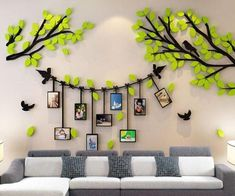Awesome Wall Stickers For Your Home Decor There are so many different options of wall decor, like: self adhesive wall stickers, removable vinyl wall art stickers, wall art sticker designs, wa Family Wall Decor, 3d Wall Decor, Family Tree Wall, Nursery Decor, Diy Wand, Mur Diy, Tree Wall Murals, Diy Wall Painting, Cool Ideas