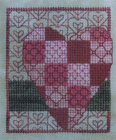 "Entitled ""Big Hearted,"" this cross stitch design features a lovely patchwork heart at it's center, embellished with fancy back stitching. Available from Stoney Creek: http://store.stoneycreek.com/miles-to-go---big-hearted-p17931.aspx"