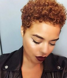 Curly tapered pixie. Perfect fall color