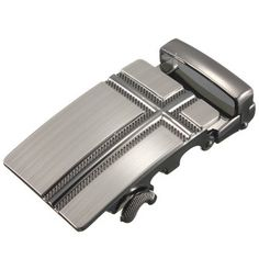 Men Belt Business Buckle Silver Alloy Metal Automatic Agio at Banggood