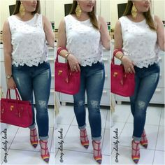 Ripped skiny jeans + lace blouse + pink purse + rainbow rockstud valentino shoes