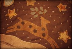 Stag Wooly Table Rug www.rebekahlsmith.com Wool Quilts, Baby Quilts, Wool Rug, Wool Felt, Wool Embroidery, Wool Applique, Applique Quilts, Felted Wool Crafts, Felt Crafts
