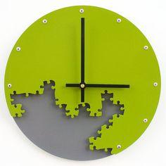 Puzzle Wall Clock III (Eden Green & Granite) Custom Colors Available Clock Craft, Home Clock, Laser Cut Steel, Cool Clocks, Wall Clock Design, Modern Clock, Granite, Green And Grey, Puzzle