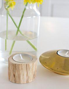 wood candle light holder gold flowers Tine K