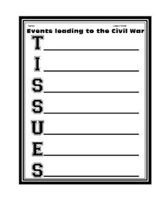 this is a worksheet about the causes of the civil war that could civil war tissues worksheet activity printable