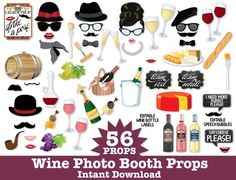 Wine Photo Booth Props - Wine Tasting Props, New Year's Props, Champagne Props - Instant Download PDF - 56 DIY Printable Props $7.99