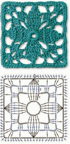Ideas Crochet Granny Square Pattern Lace For 2019 Crochet Stitches Free, Crochet Motifs, Crochet Fabric, Granny Square Crochet Pattern, Crochet Flower Patterns, Crochet Diagram, Crochet Squares, Crochet Chart, Crochet Designs