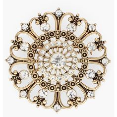 Chico's Harlow Flower Pin ($45) ❤ liked on Polyvore featuring jewelry, brooches, gold, flower pin brooch, chicos jewelry, pin brooch and pin jewelry