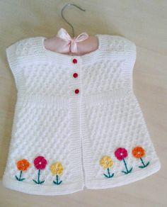 Happy evening - we know we& pretty - . Crochet For Kids, Crochet Baby, Knit Crochet, Baby Knitting Patterns, Happy Evening, Baby Dress Design, Baby Vest, Moda Emo, Girls Sweaters