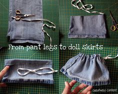 I used to make my own doll clothes. I enjoyed this Pin-Creating my way to Success: Upcycling for some dolls clothes - make a doll skirt from pant leg - tutorial. Guest post tutorial from Becky at Creatively Content Sewing Doll Clothes, Baby Doll Clothes, Sewing Dolls, Ag Dolls, Doll Clothes Patterns, Barbie Clothes, Girl Dolls, Doll Patterns, Diy Clothes For Dolls