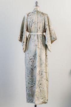 Vintage Gray Plum Blossoms Silk Kimono - One Size