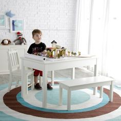 Classic Playtime Rectangle Table and Chair Set - Vanilla - Kids Tables & Chairs at Hayneedle Kids Water Table, Kids Table And Chairs, Kid Table, Table And Chair Sets, Rectangle Table, Dining Bench, Kids Room, Vanilla, Tables
