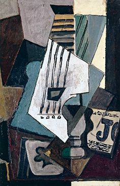 Pablo Picasso - Nature Morte. Guitar, Newspaper, Glass and Ace of Clubs, 1914