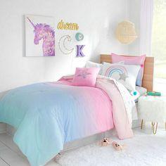 Girls bedroom unicorn - Frank And Lulu Shiloh Midweight Embellished Reversible Comforter Set Unicorn Room Decor, Unicorn Bedroom, Unicorn Bed Sheets, Girl Room Decor, Unicorn Rooms, Teen Girl Bedrooms, Little Girl Rooms, Rainbow Girls Bedroom, 6 Year Old Girl Bedroom