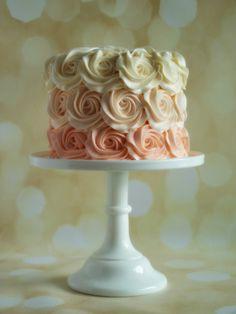Peach ombré rosette smash cake. Smash Cake Girl, Girl Cakes, Smash Cakes, Wedding Cake Flavors, Wedding Cakes, Girl First Birthday, 10th Birthday, Birthday Fun, Birthday Cakes
