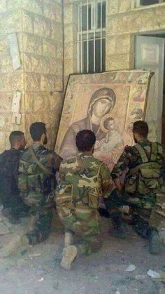 'They Accept Us as We Are;' Christians Join Forces With Muslim Group Hezbollah to Fight ISIS ~ Iraq Solidarity News (Al-Thawra) Catholic Prayers, Catholic Art, Catholic Saints, Religious Art, Syrian Christians, Orthodox Christianity, Jesus Pictures, We Are The World, Orthodox Icons