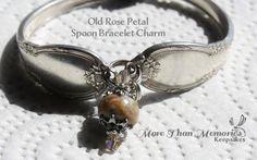 Old Rose Petal Spoon Bracelet Charm http://abanister1.wixsite.com/morethanmemories
