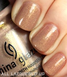 Hunger Games nail polish- China Glaze Fast Track (District 6 – Transportation) is a cool beige packed with gold micro-flecks. Love Nails, How To Do Nails, Pretty Nails, My Nails, Glitter Nails, Gold Glitter, Fall Nails, China Glaze, Hunger Games Nails
