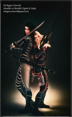 Two Girls, Girls Show, Fantasy Books, Sci Fi Fantasy, Big Guns, Art Base, Show Us, Katana, Two By Two