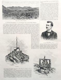 1894 Incisione + Articolo MONTE PELLEGRINO CATASTROFE INGEGNERE IMBRICO PALERMO