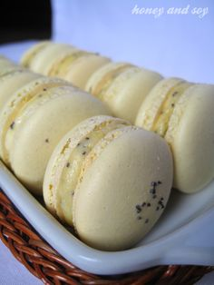 lemon and poppyseed macarons -- sounds tasty and there is a touch of blue with the poppy seeds.