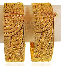 Gold Wide Kada (Pair) - - Gold Designer Kadas are excellently handcrafted with detailed filigree work and machine cuts whi Gold Bangles Design, Gold Jewellery Design, Gold Jewelry, India Jewelry, Bridal Jewellery, Pearl Jewelry, Gold Necklace, Gold Fashion, Marriage Advice