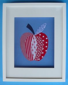 """An 8x10"""" fabric red and blue APPLE for a childs room or nursery decor.  Customised and Personalised for you.. $30.00, via Etsy."""