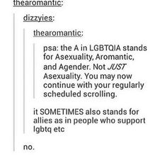 False. It stands for asexual, aromantic, and agender, for sure- but never allies. Allies aren't oppressed and don't need a community to support them.